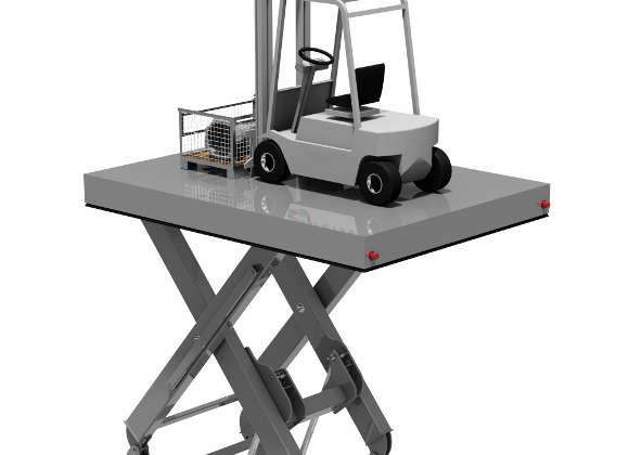 Hubtisch transportiert 8 Tonnen in 5 Meter Höhe